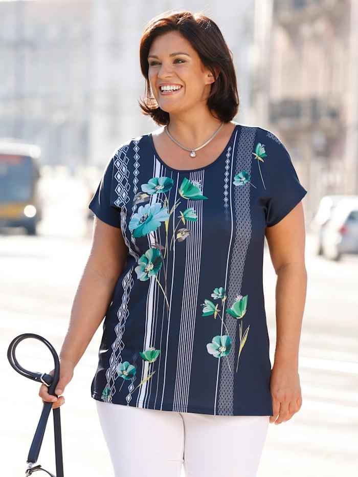 m. collection Shirt vorne mit floralen Motiven, Marineblau