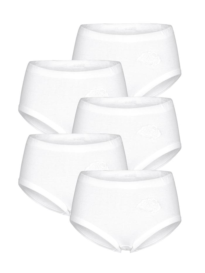 Harmony Taillenslips im 5er-Pack mit Stickereimotiv, Weiß