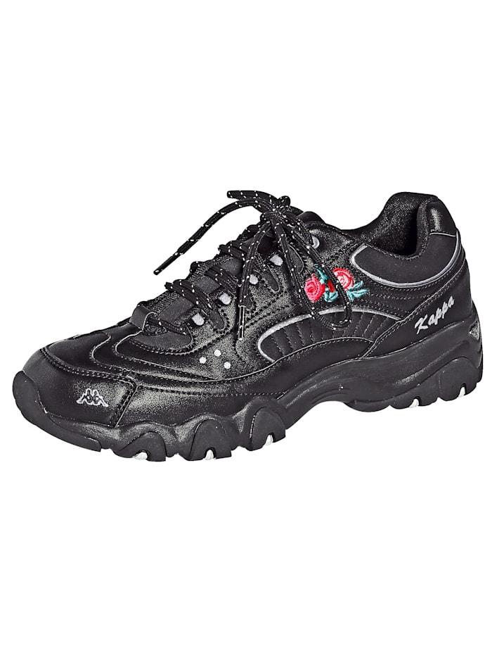 Kappa Sneaker met subtiel rozenborduursel, Zwart