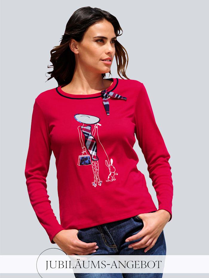 Alba Moda Shirt mit appliziertem Motiv, Rot