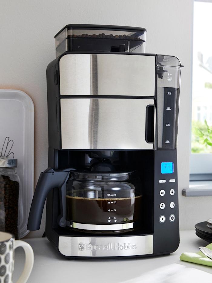 Russell Hobbs Glas-Kaffeemaschine mit integriertem Mahlwerk, Edelstahl / Schwarz