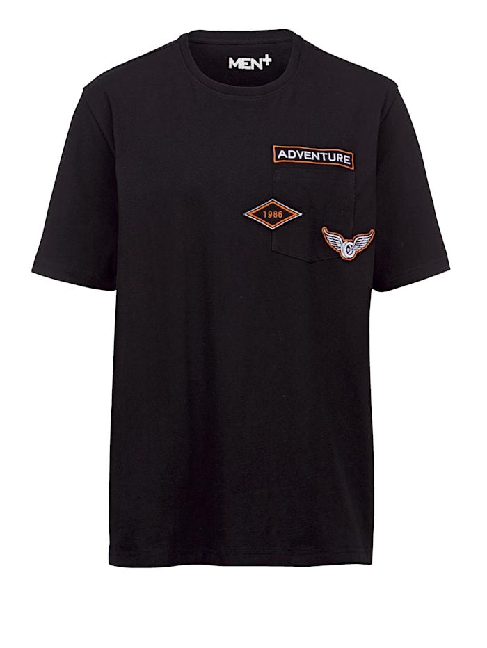 Men Plus T-Shirt mit Rückenprint, Schwarz