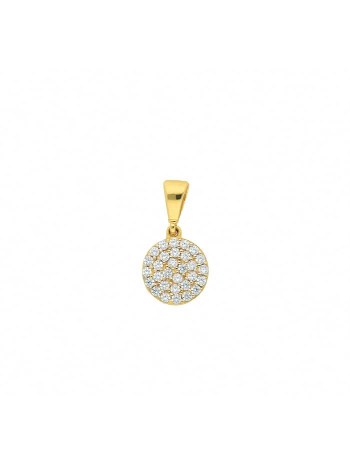 1001 Diamonds Damen Goldschmuck 333 Gold Anhänger mit Zirkonia Ø 8,2 mm, gold