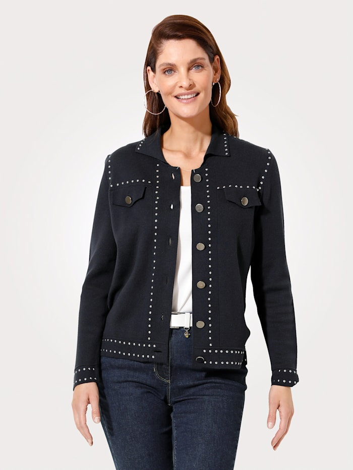 MONA Knitted jacket with metal buttons, Navy