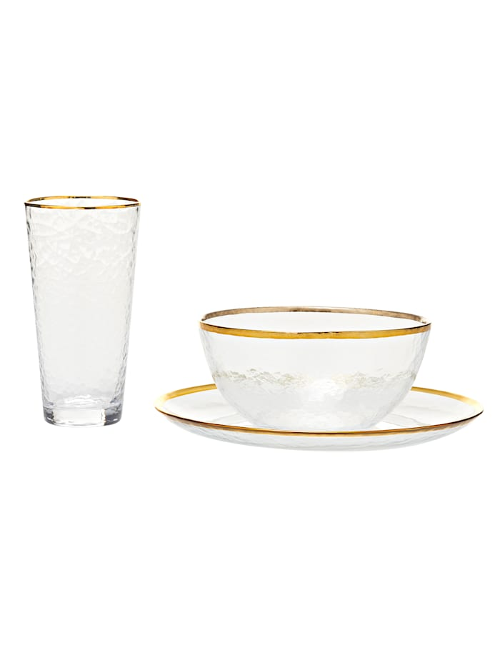 IMPRESSIONEN living Service-Set, 3-tlg., clear, golden