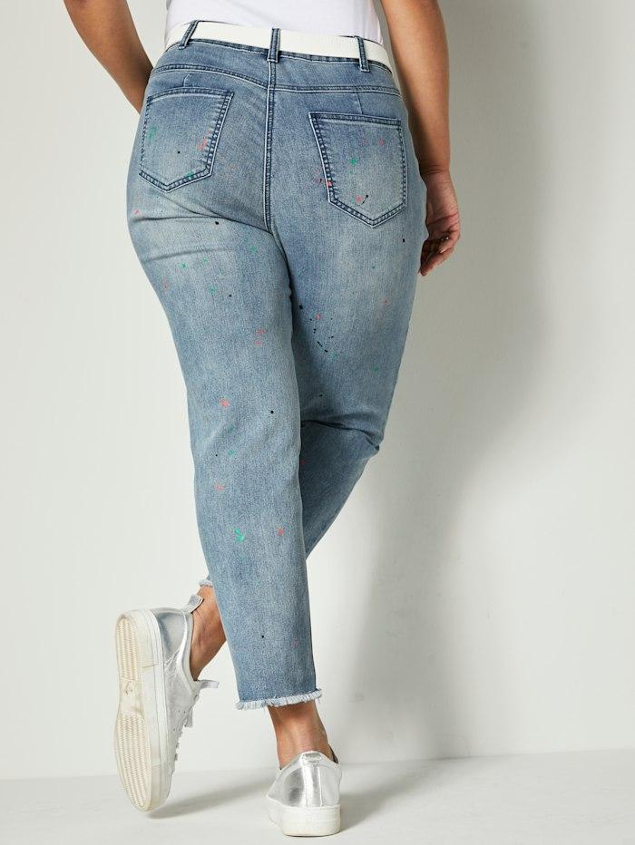 Jeans med tryckt färgstänk