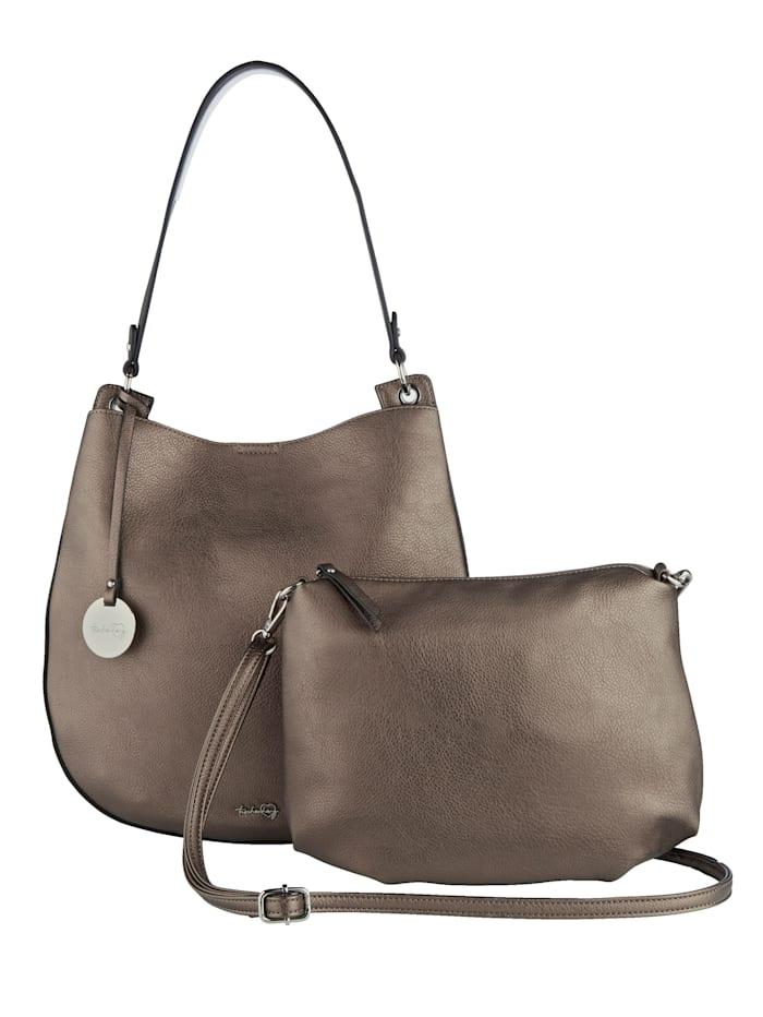 Taschenherz Shopper 2-tlg. mit abnehmbaren Taschenherz-Anhänger 2-teilig, Bronzefarben