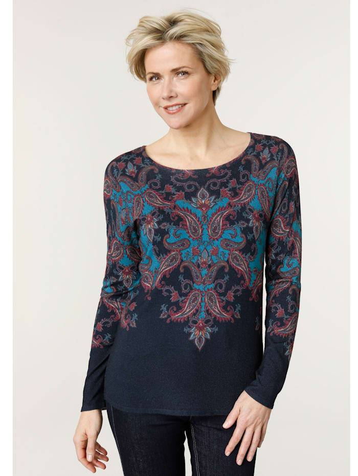 MONA Jumper with a paisley print, Navy/Petrol/Maroon