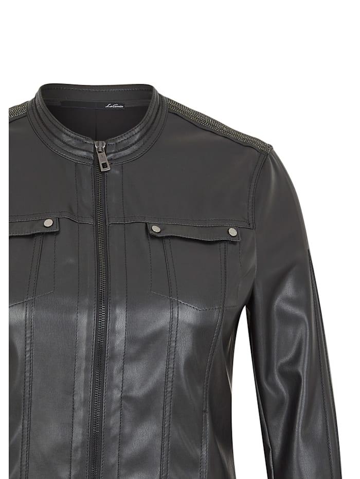 Jacke mit unifarbenen Stoff und Glitzersteinen