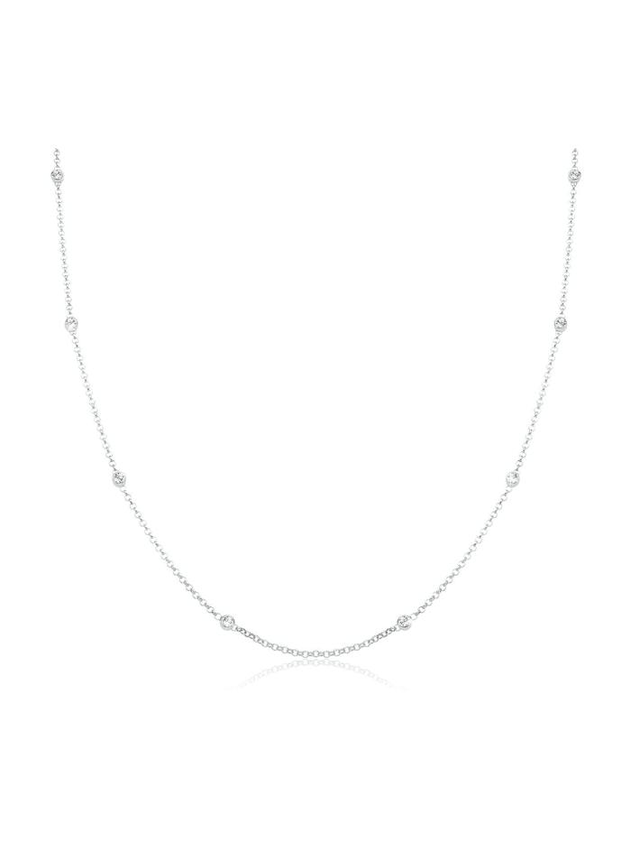 Elli Halskette Solitär Basic Swarovski® Kristalle 925 Silber, Weiß