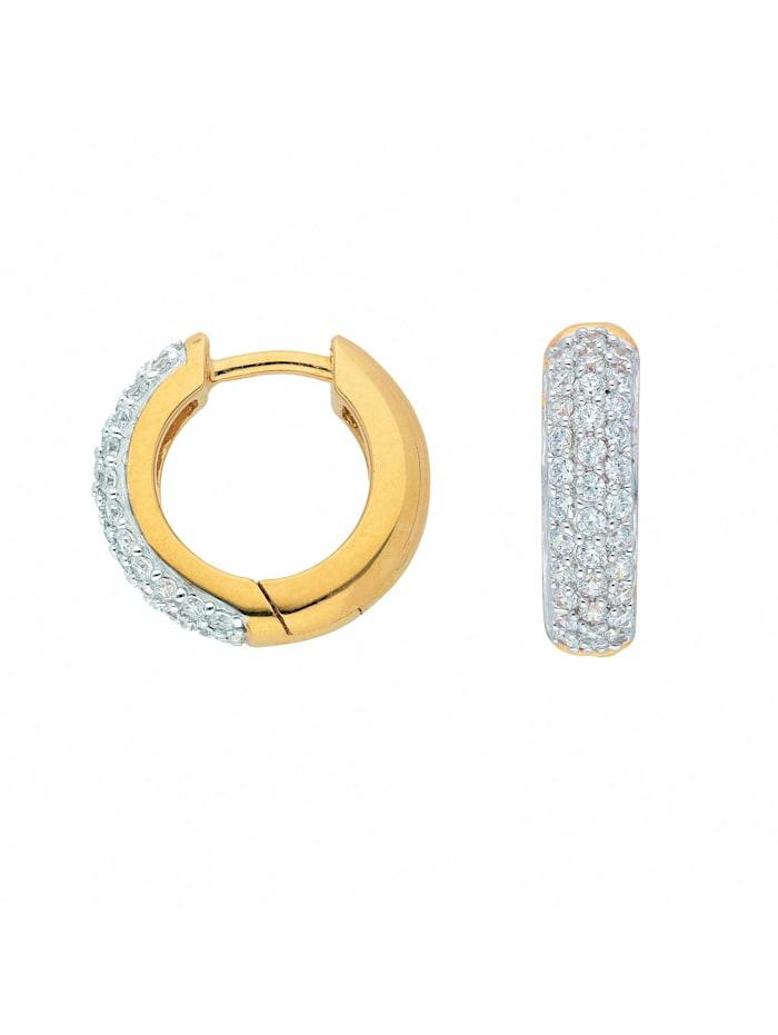 1001 Diamonds Damen Goldschmuck 333 Gold Ohrringe / Creolen mit Zirkonia Ø 13,9 mm, gold