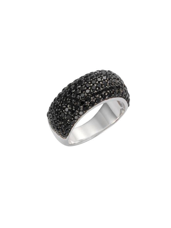 Celesta Ring 925/- Sterling Silber syn. Spinell schwarz Glänzend 925/- Sterling Silber, Silbergrau