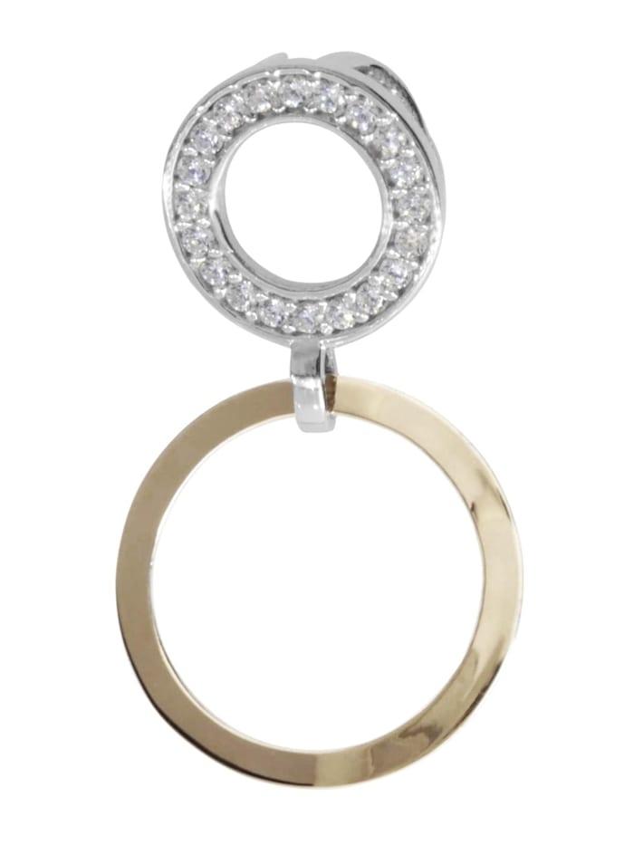 OSTSEE-SCHMUCK Anhänger - Sunny Exklusiv - Silber 925/000 & Gold 585/000 - Zirkonia, silber