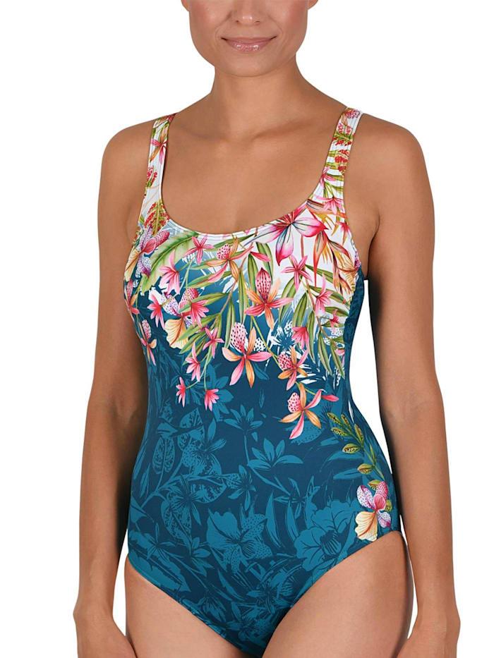 Naturana Badeanzug mit Innenbügel, tannengrün-hibiscus-weiß