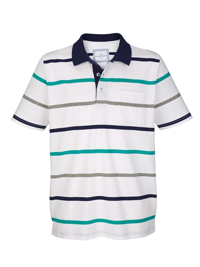 Roger Kent Poloshirt met ingebreid streepdessin, Wit/Marine/Groen