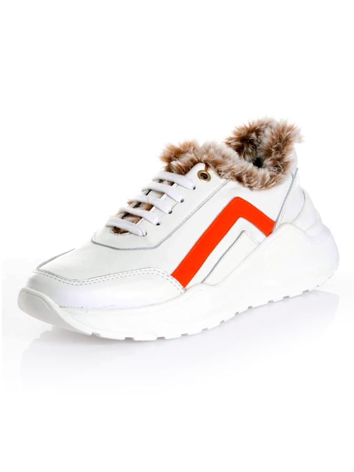Alba Moda Sneaker van rundlakleer, Wit/Oranje
