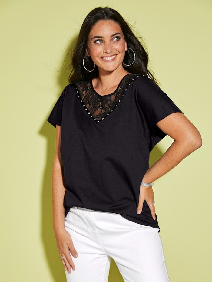 MIAMODA T-shirt avec empiècement en dentelle, Noir