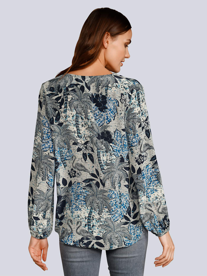 Bluse im allover Palmenprint