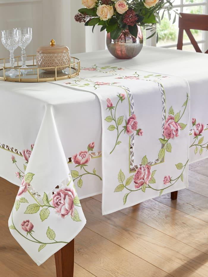 Webschatz Tafellinnen Greta, champagne/roze