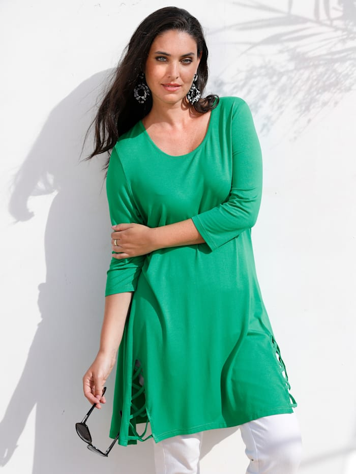 MIAMODA Longshirt mit Bänderdetail am Saum, Grün