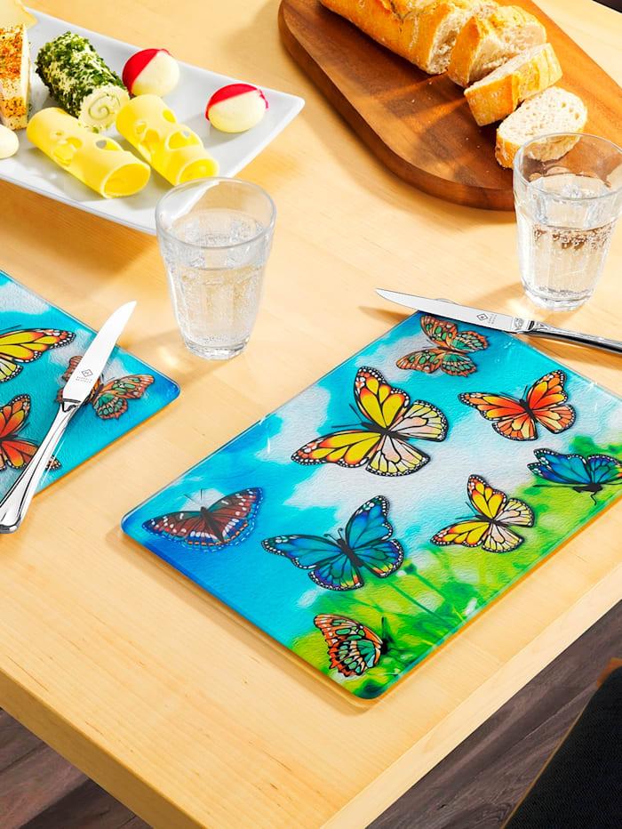 Wenko 2 små skärbrädor/uppläggningsfat – fjärilar, flerfärgad