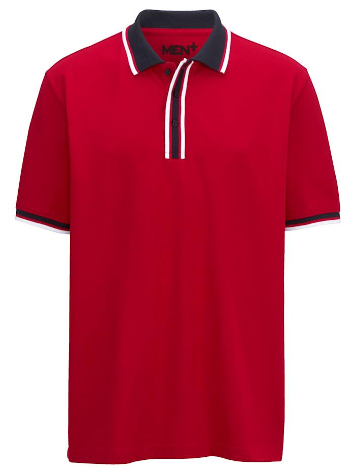 Men Plus Poloshirt mit garngefärbten Streifen, Rot