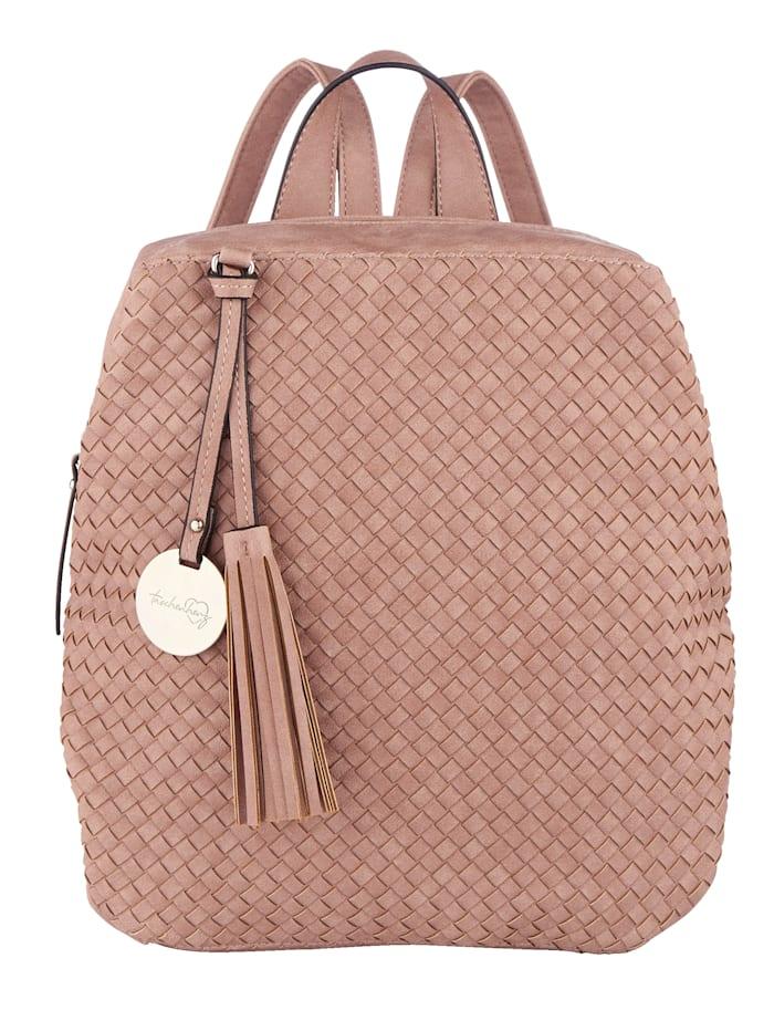 Taschenherz Rugzak in aantrekkelijke gevlochten look, roze
