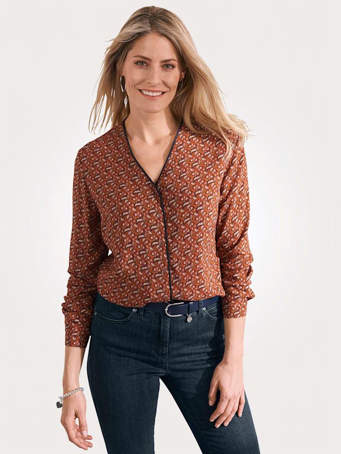 MONA Bluse mit Blätterdruck, Terracotta/Marineblau