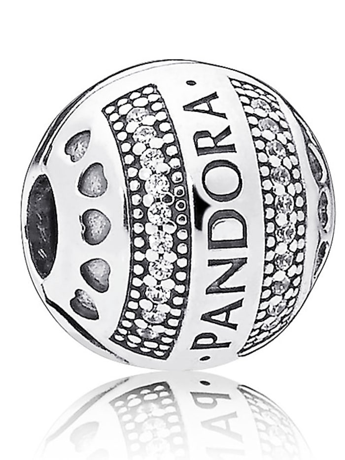 Pandora Clip-Charm -Logo mit Herzen- 797433CZ, Silberfarben