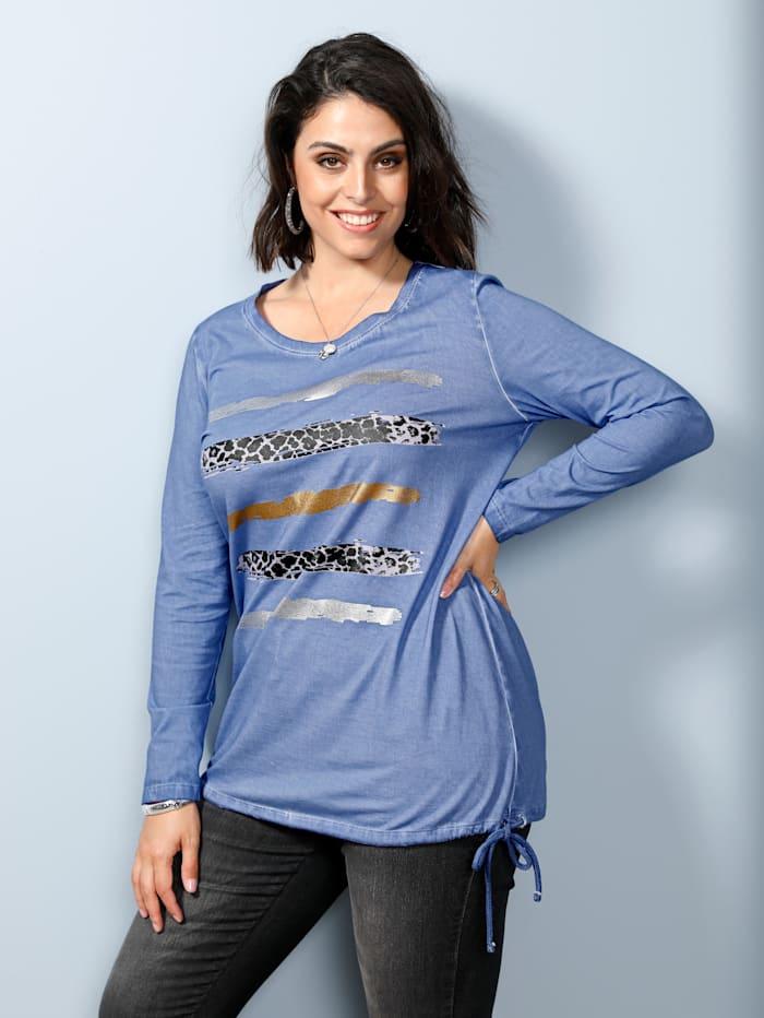 MIAMODA Shirt mit Tunnelzug am Saum, Jeansblau