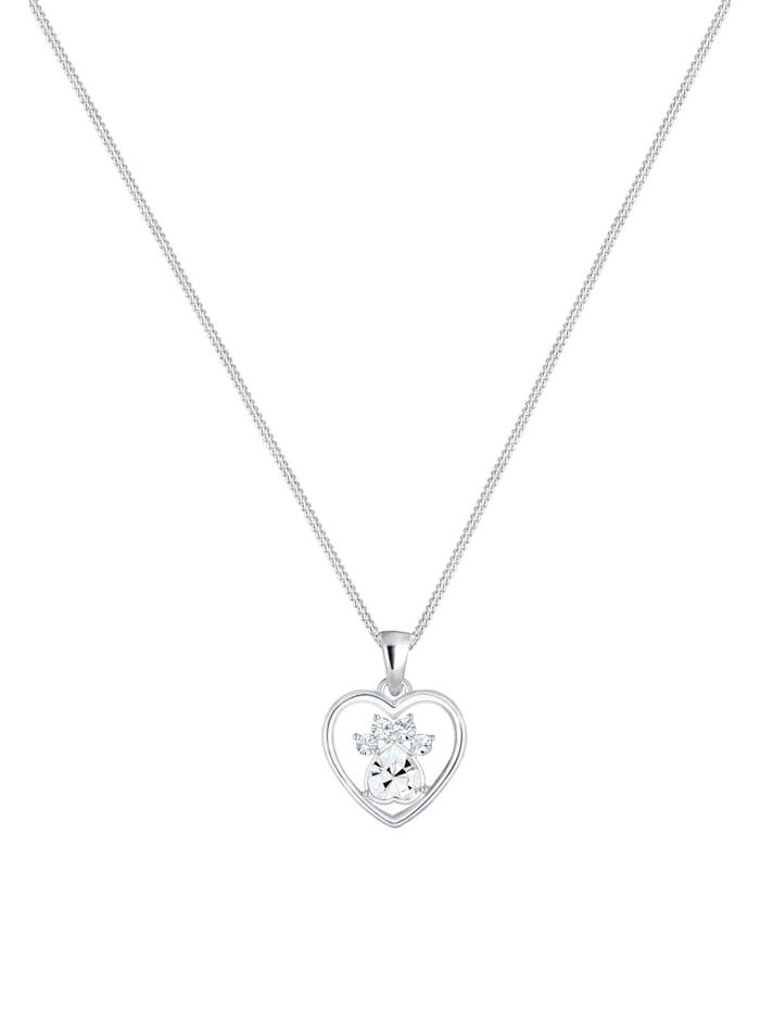 Halskette Herz Pfote Hund Katze Swarovski® Kristalle Silber