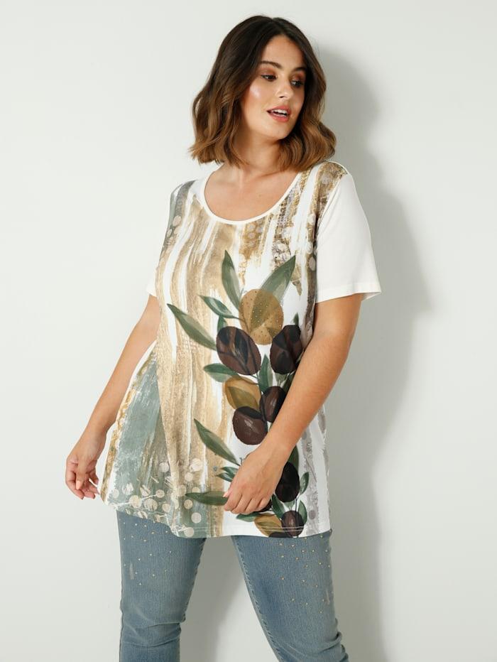 Sara Lindholm Shirt met fonkelende siersteentjes, Offwhite