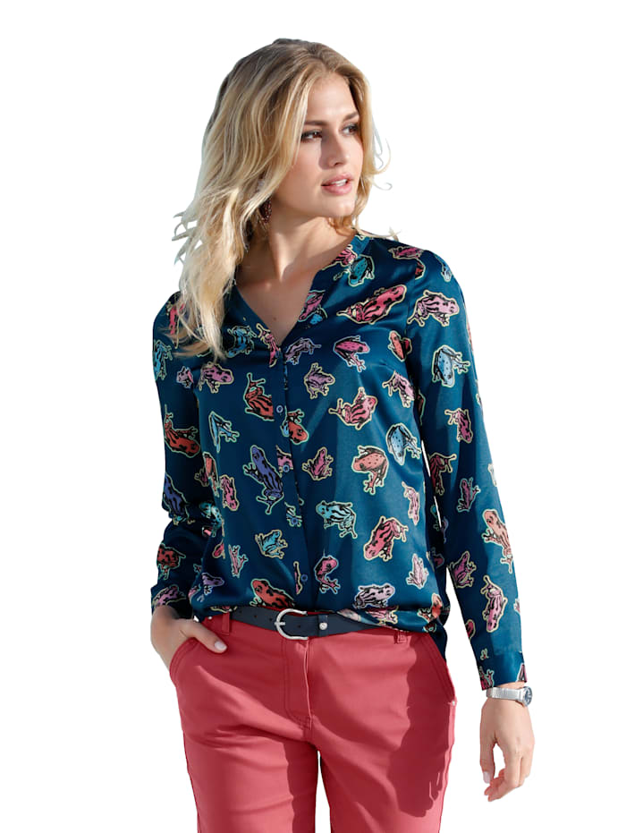 AMY VERMONT Bluse im allover Druck, Marineblau/Multicolor