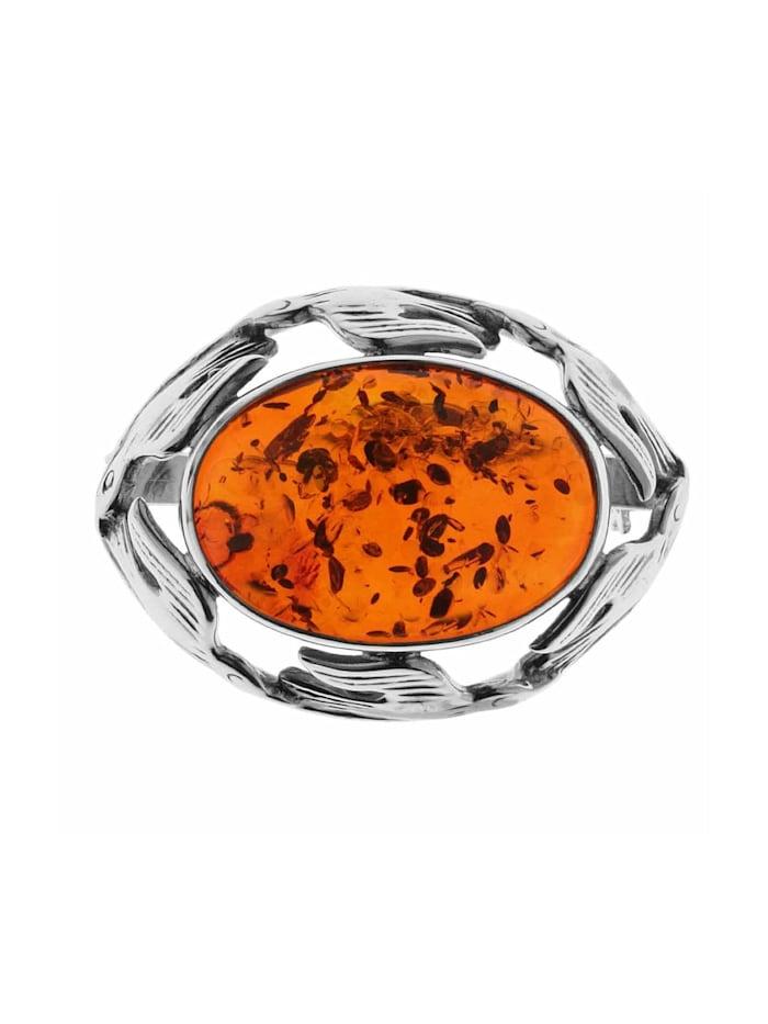 OSTSEE-SCHMUCK Brosche - Fischland 30x23 mm - Silber 925/000 - Bernstein, Silber 925