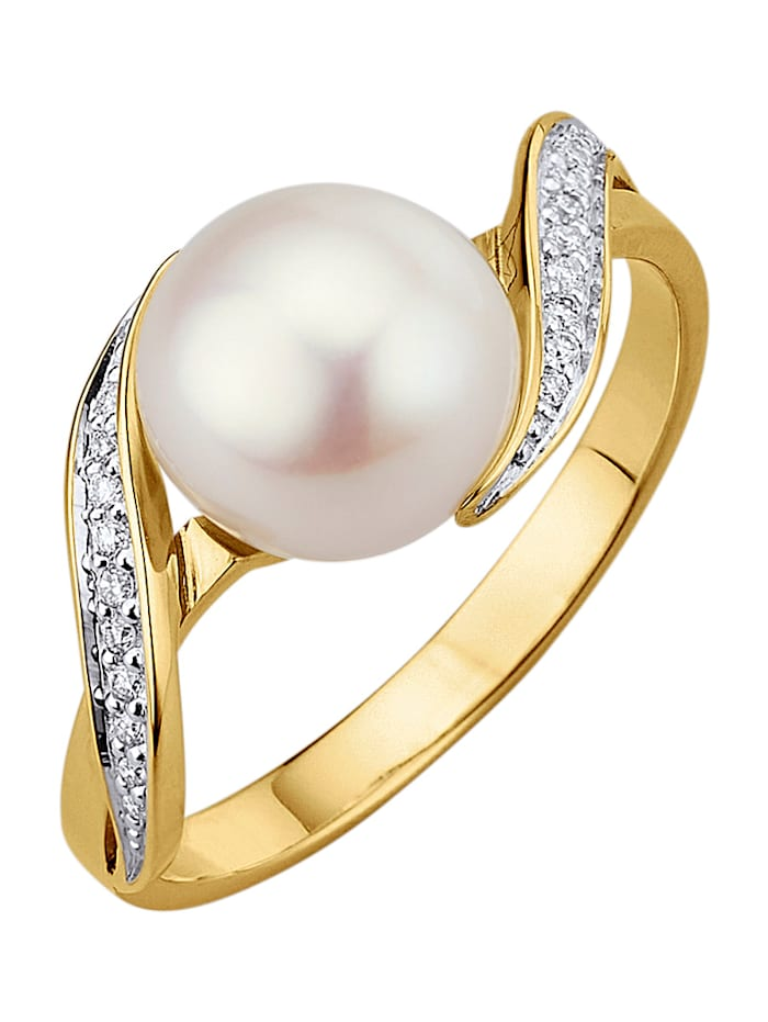 Amara Perle Damenring mit 1 weißen Süßwasser-Zuchtperle, Weiß