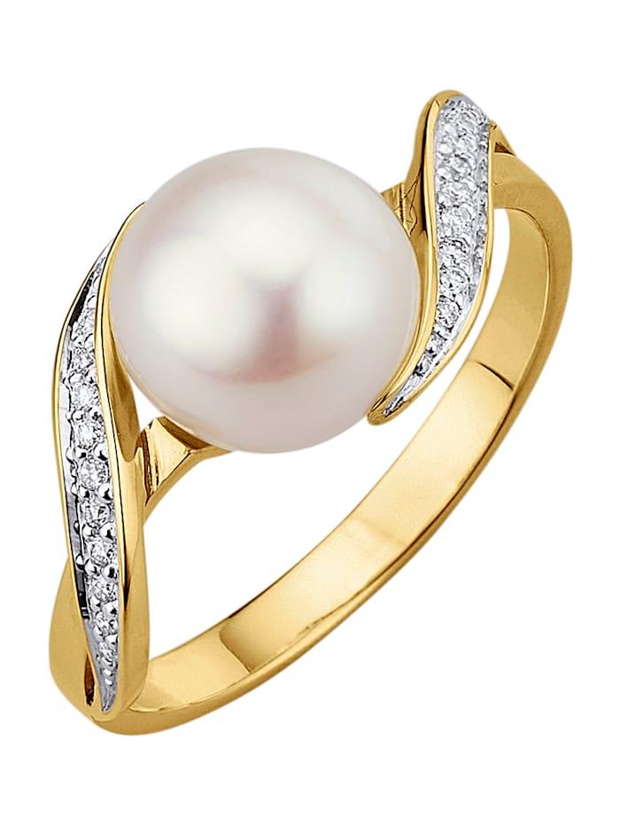 Diemer Perle Damenring mit 1 weißen Süßwasser-Zuchtperle, Weiß