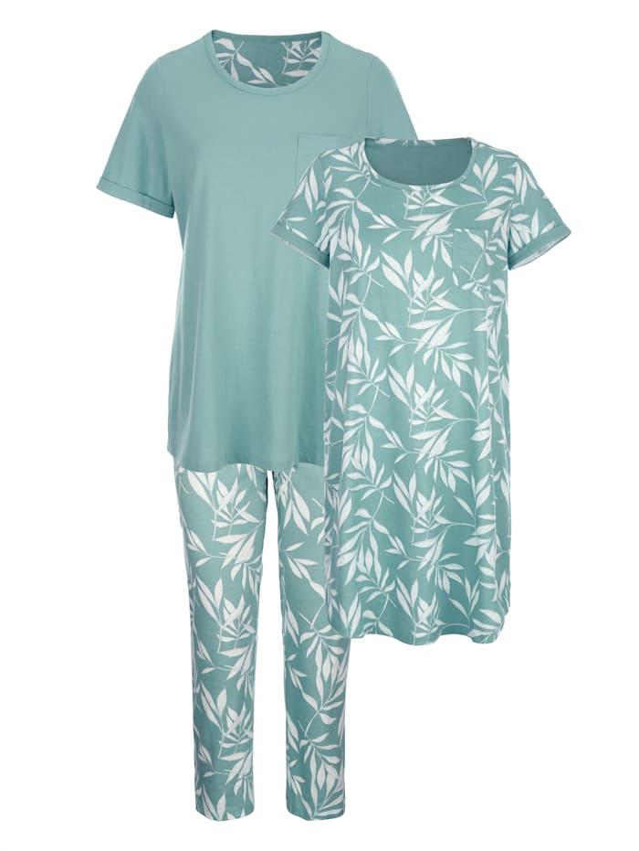 Blue Moon Pyjamas & nattlinne i matchande stil, Jade/Mint/Benvit