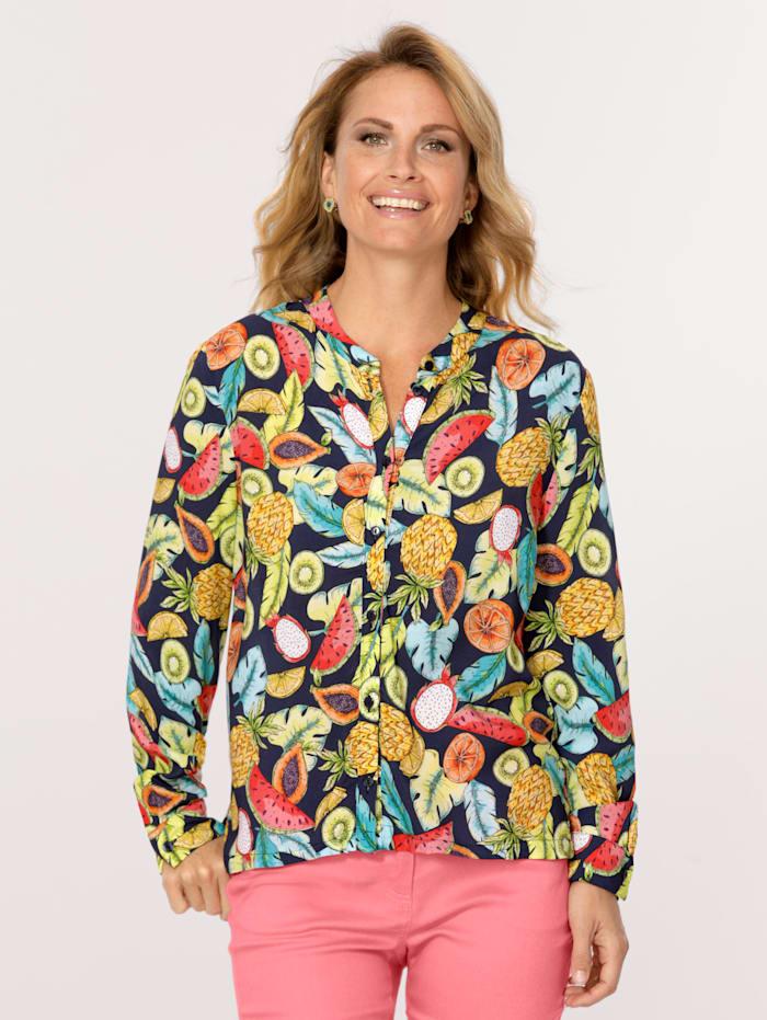 MONA Bluse mit Früchte-Dessin, Marineblau/Multicolor