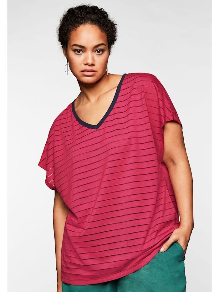 Sheego Shirt mit V-Ausschnitt, in Streifenoptik, dunkelpink