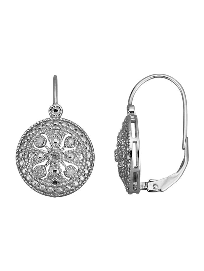 KLiNGEL Ohrringe mit Ice-Diamanten, Silberfarben