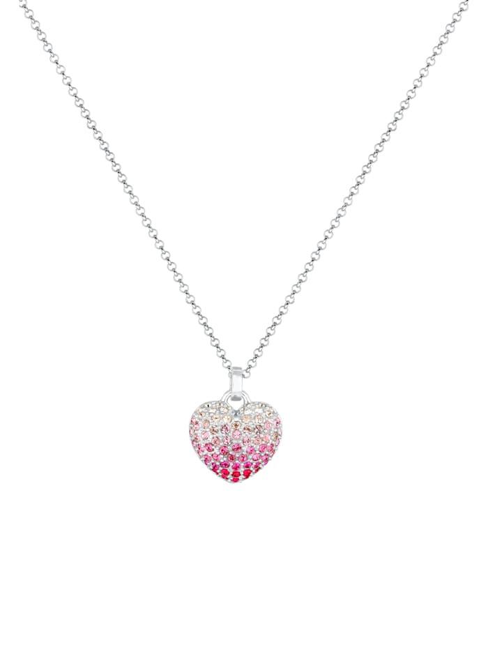 Halskette Herz Pink Ombré Kristalle 925 Silber