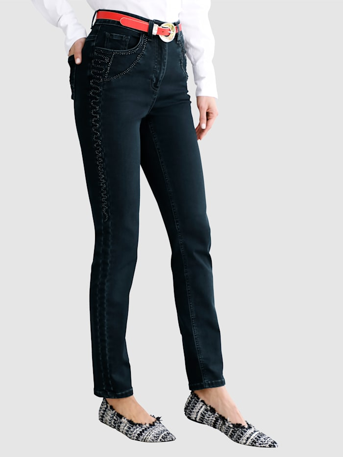 MONA Jeans mit toniger Stickerei, Dunkelblau