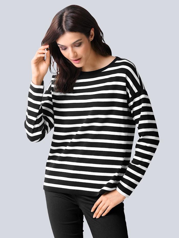 Alba Moda Shirt allover im Ringelmuster, Schwarz/Off-white