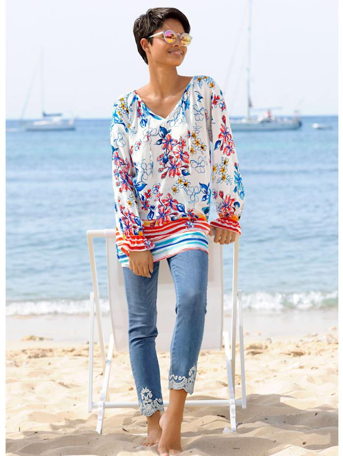 Strandbluse in sommerlichem Druck