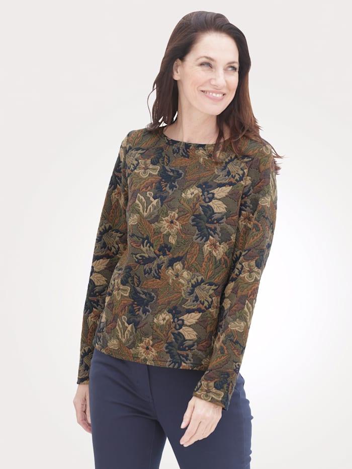MONA Sweatshirt mit U-Boot-Ausschnitt, Grün/Braun/Marineblau