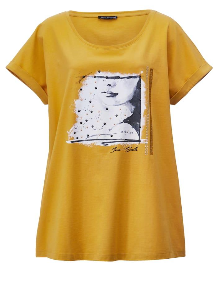 Shirt met gekleurde siersteentjes