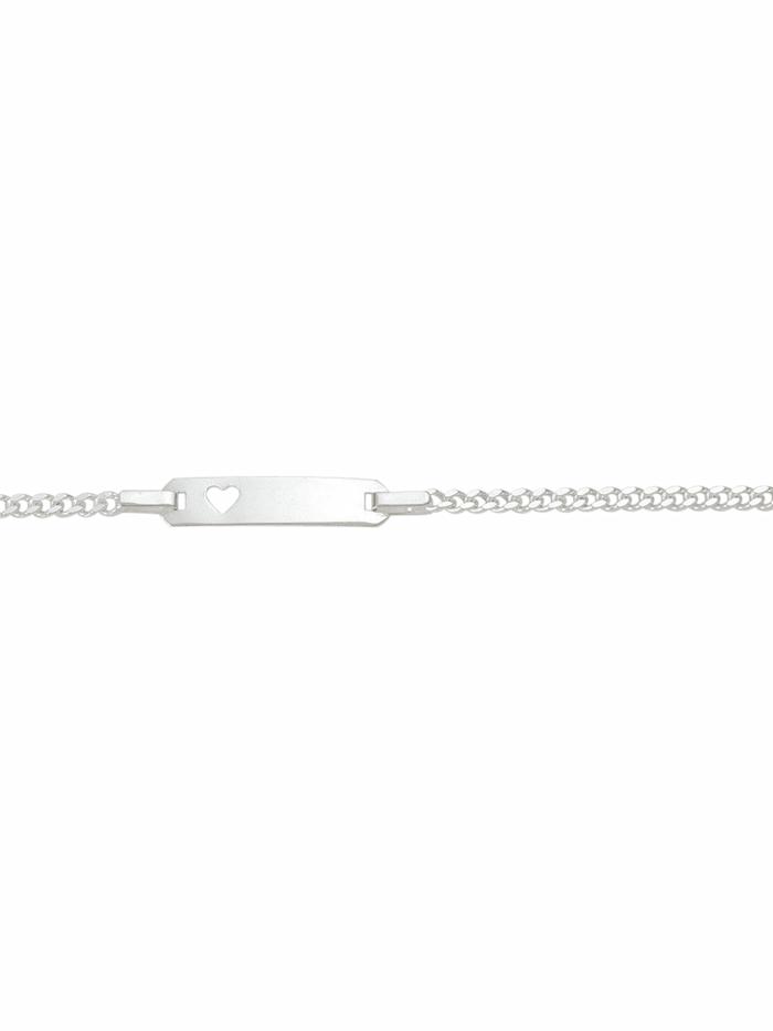 1001 Diamonds 1001 Diamonds Damen Silberschmuck 925 Silber Flach Panzer Armband 16 cm, silber