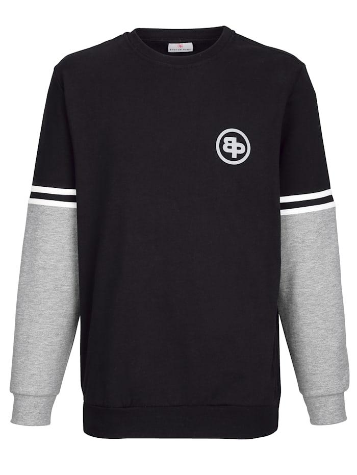 Boston Park Sweatshirt Contraststrepen op de mouwen, Zwart