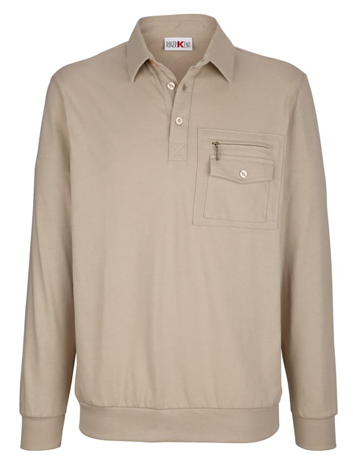 Roger Kent Poloshirt van strijkarm materiaal, Zand
