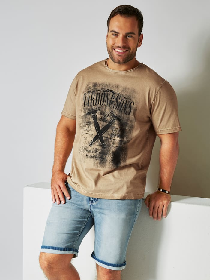 Men Plus T-Shirt in Oil Washed Optik, Beige